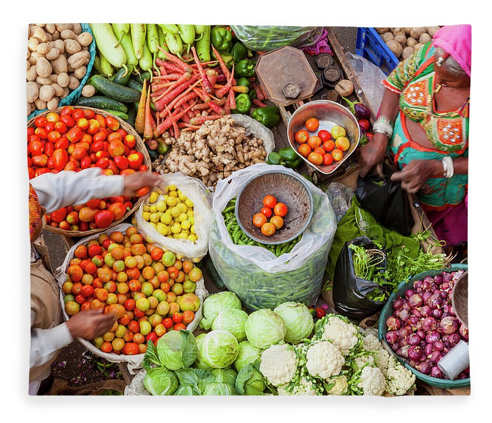 Trading Fleece Blanket featuring the photograph Vegetable Stall, Pushkar, Rajasthan by Peter Adams