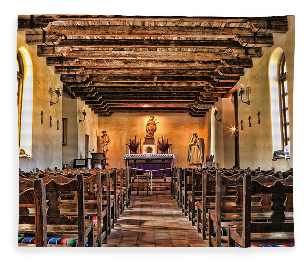 Texas Fleece Blanket featuring the photograph Veneration - Mission Espada by Stephen Stookey