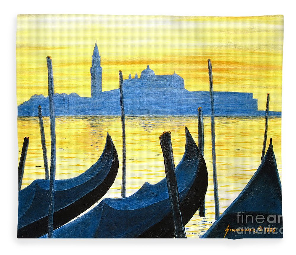 Venice Fleece Blanket featuring the painting Venezia Venice Italy by Jerome Stumphauzer