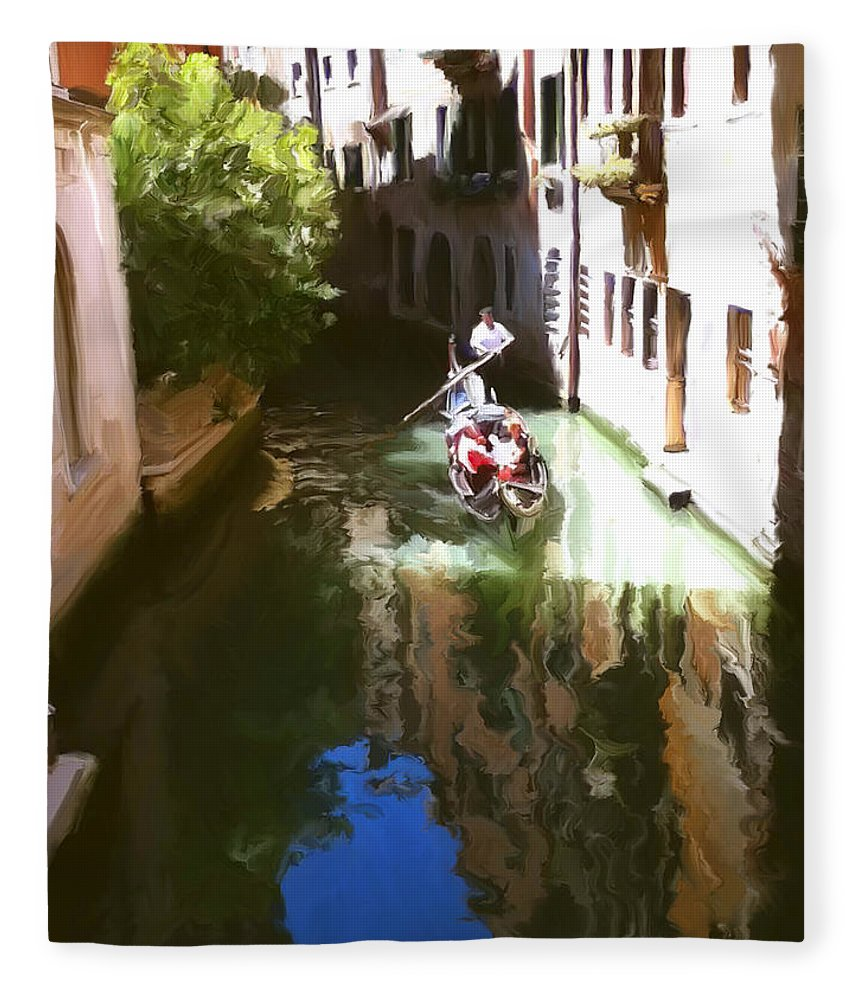 Venice Fleece Blanket featuring the painting Venice Canal by Paul Tagliamonte
