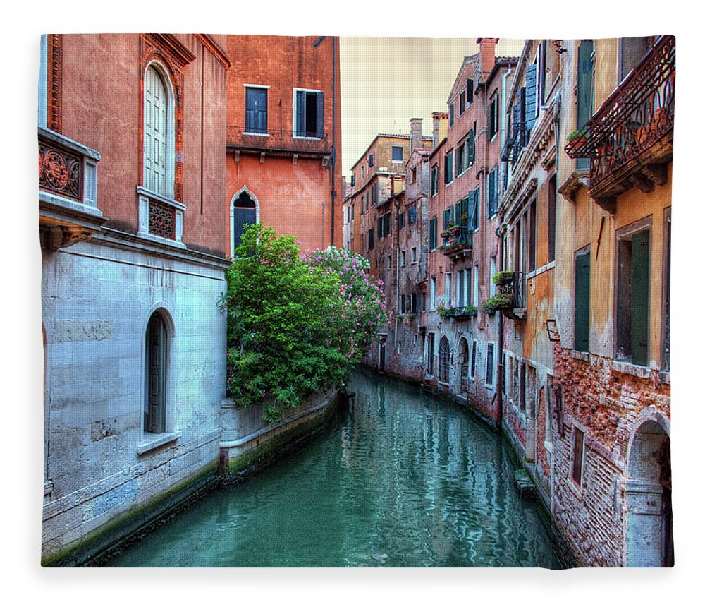 Tranquility Fleece Blanket featuring the photograph Venice Canals by Emad Aljumah