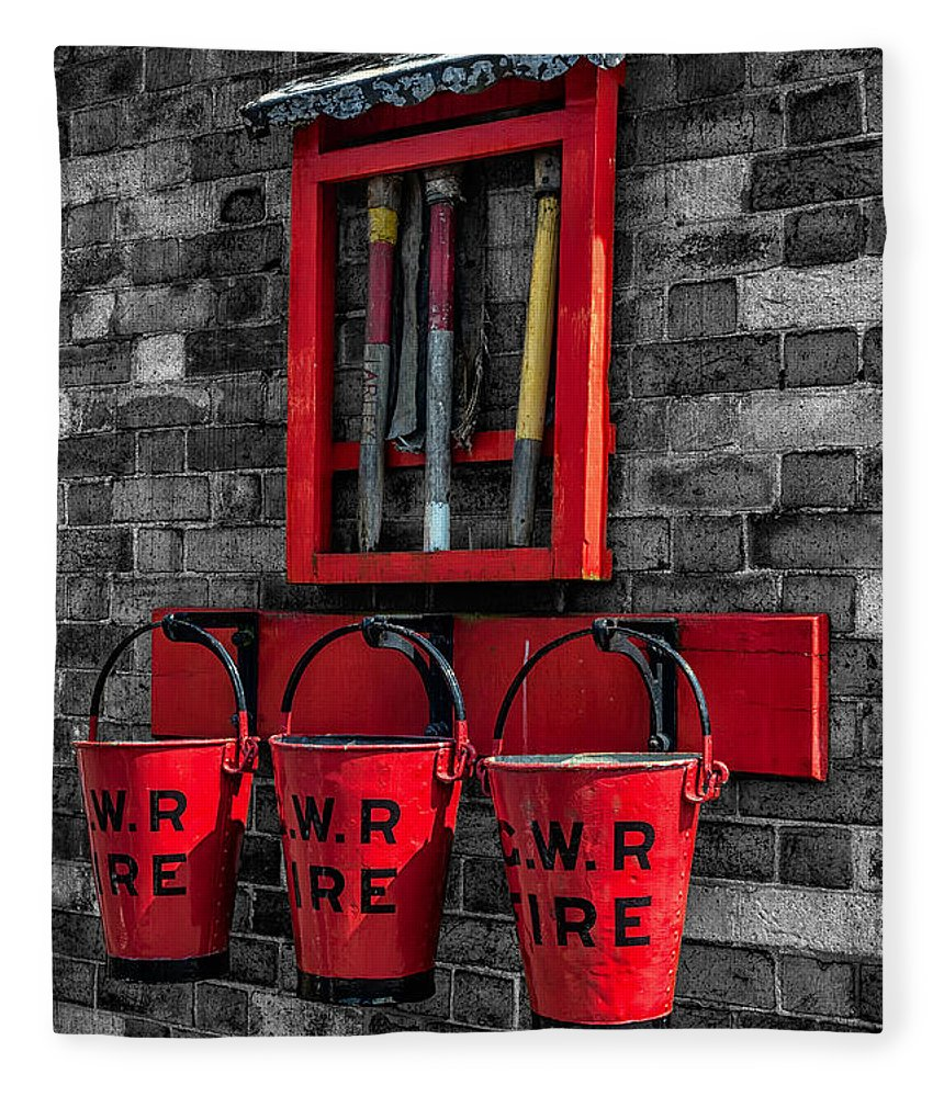British Fleece Blanket featuring the photograph Victorian Fire Buckets by Adrian Evans