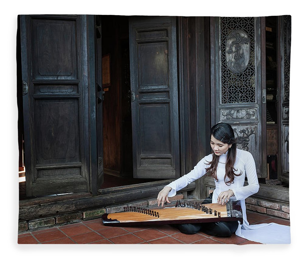 Three Quarter Length Fleece Blanket featuring the photograph Vietnamese Ao Dai Playing Orchestra by Jethuynh