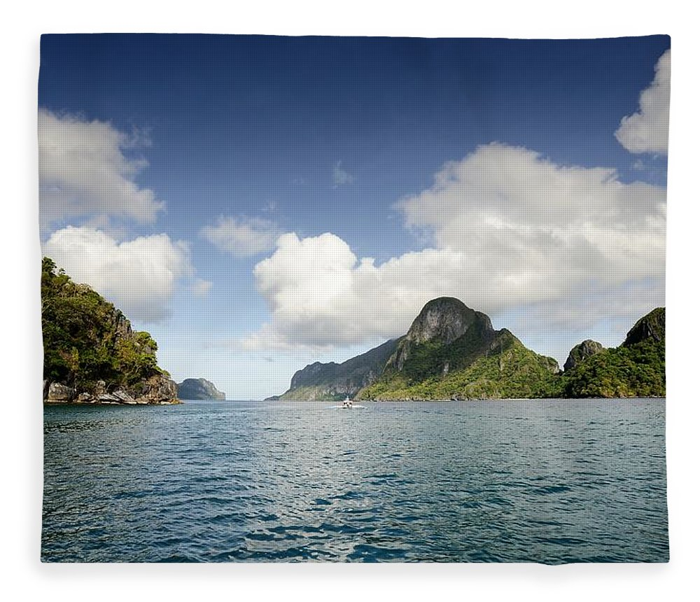 Tranquility Fleece Blanket featuring the photograph View Of Bacuit Bay by Carlina Teteris