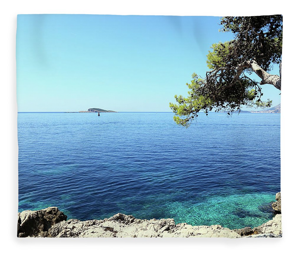Water's Edge Fleece Blanket featuring the photograph View Of Dubrovnik From Cavtat Peninsula by Vuk8691