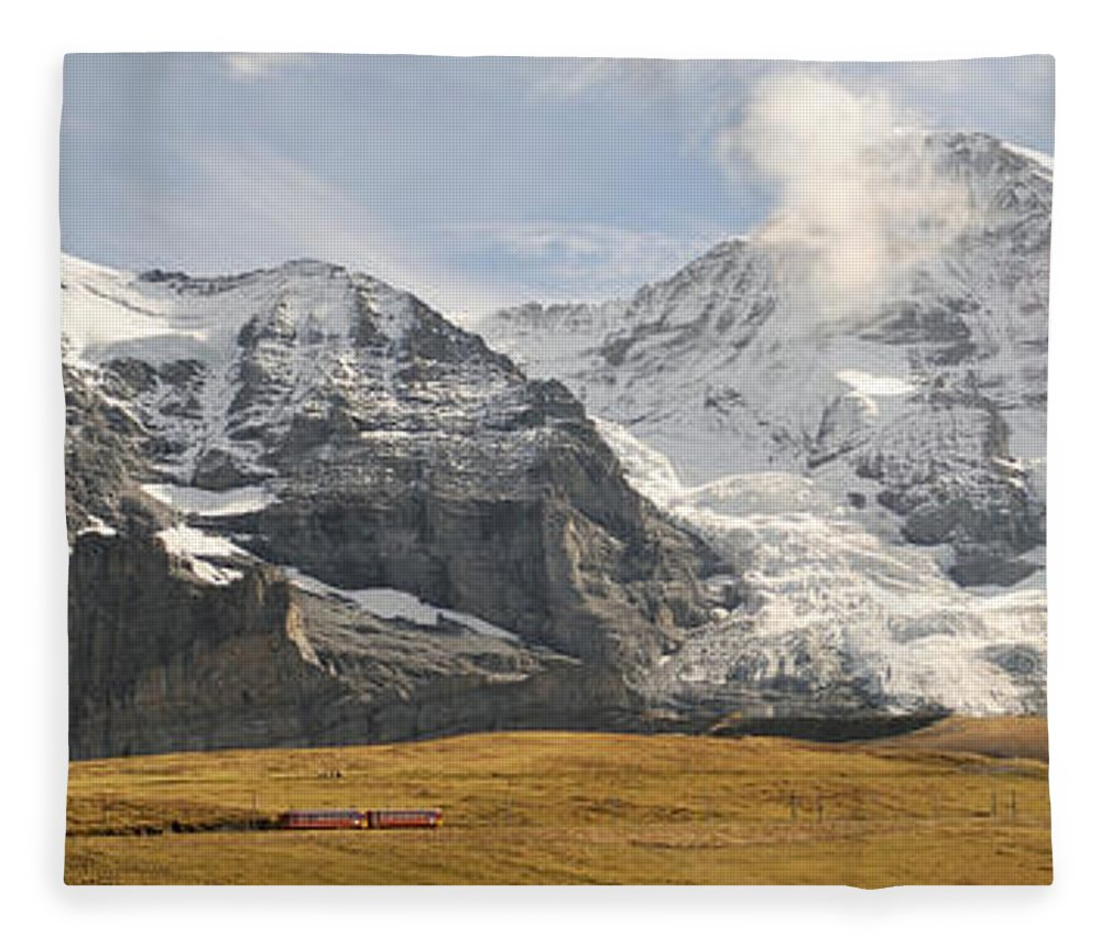 Photography Fleece Blanket featuring the photograph View Of Mt Eiger And Mt Monch, Kleine by Panoramic Images