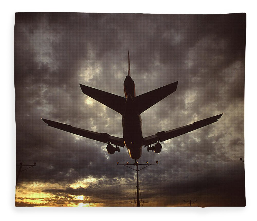 Air Vehicle Fleece Blanket featuring the photograph View Of Plane by Arthur Meyerson