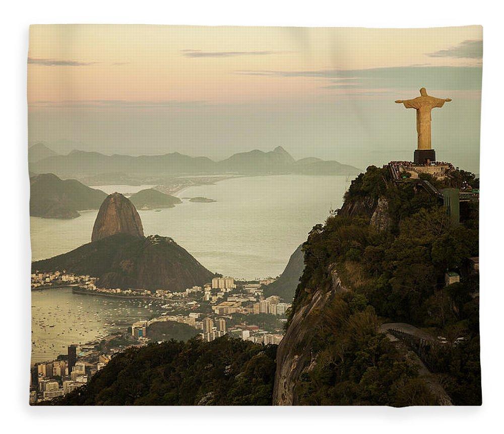 Outdoors Fleece Blanket featuring the photograph View Of Rio De Janeiro At Dusk by Christian Adams