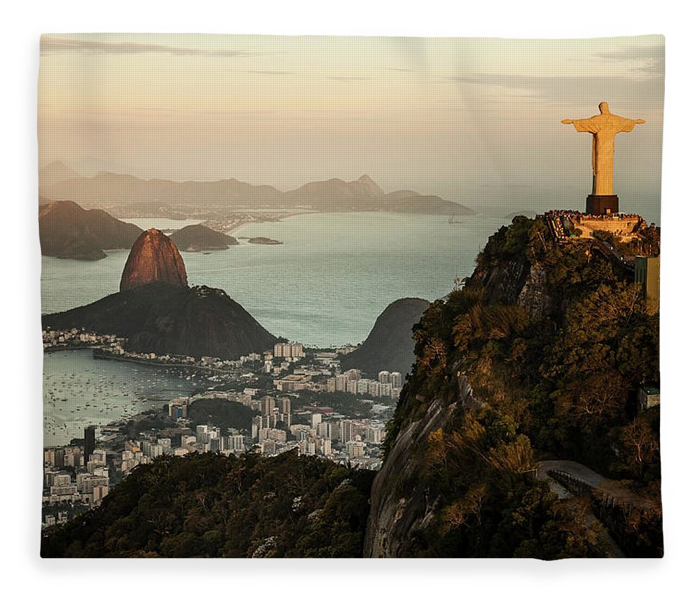 Outdoors Fleece Blanket featuring the photograph View Of Rio De Janeiro At Sunset by Christian Adams