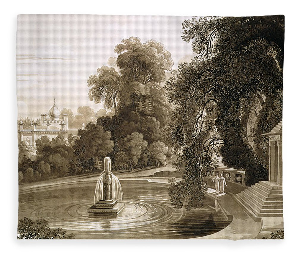 English Architecture Fleece Blanket featuring the drawing View Of The Temple Of Suryah by John Martin