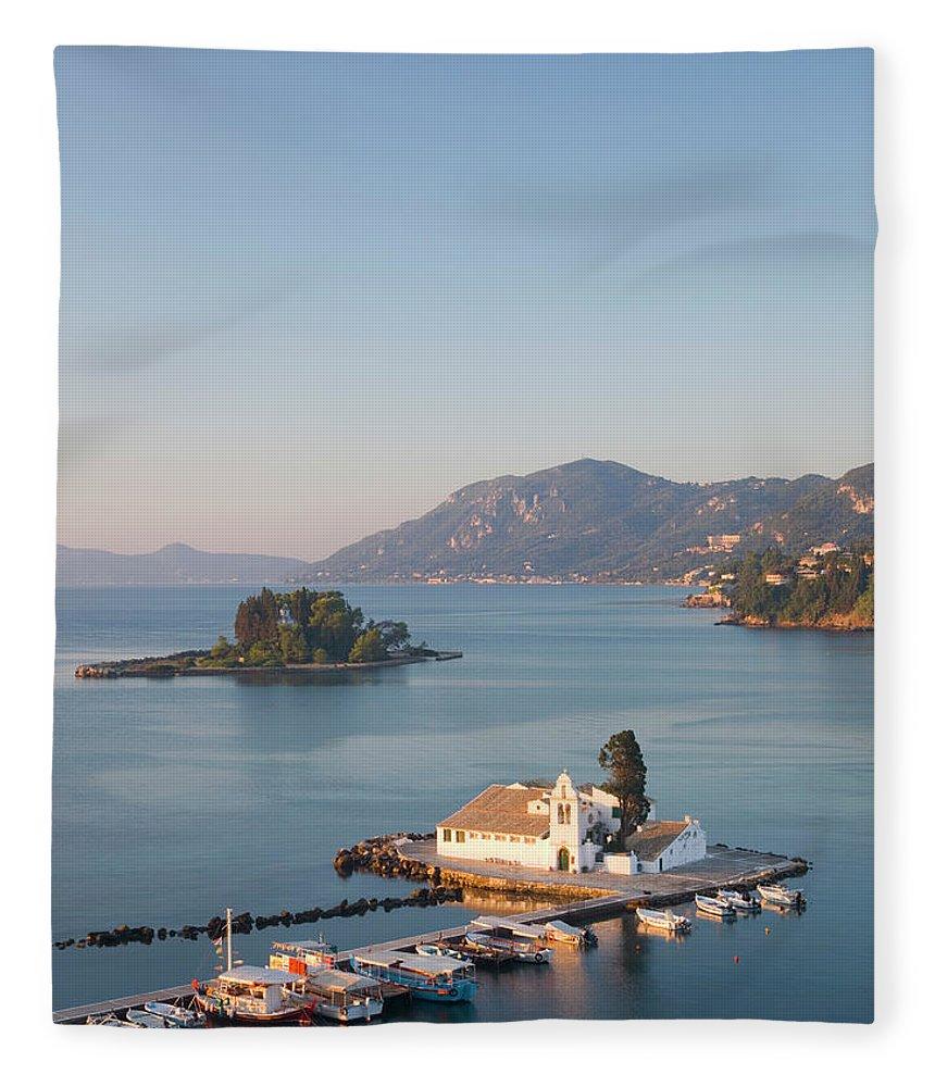 Scenics Fleece Blanket featuring the photograph View To Vlacherna Monastery, Kanoni by David C Tomlinson