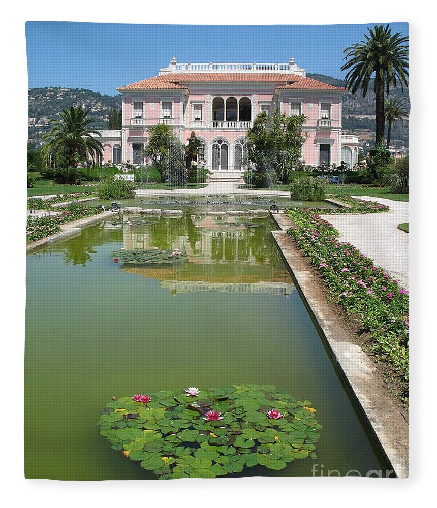 Villa Fleece Blanket featuring the photograph Villa Ephrussi De Rothschild With Reflection by Christiane Schulze Art And Photography