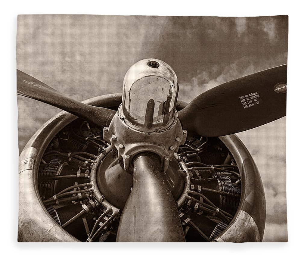 3scape Fleece Blanket featuring the photograph Vintage B-17 by Adam Romanowicz