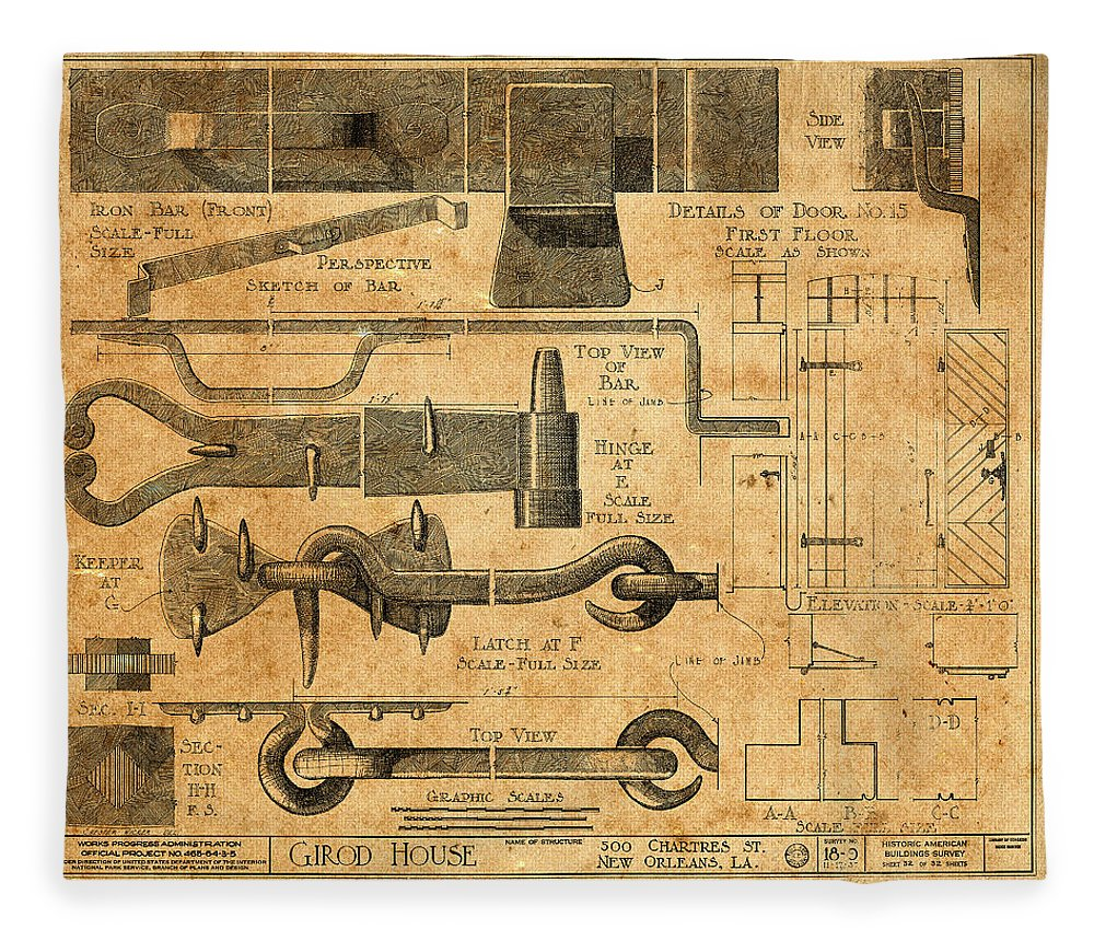 Vintage Blueprints 6 Fleece Blanket for Sale by Andrew Fare