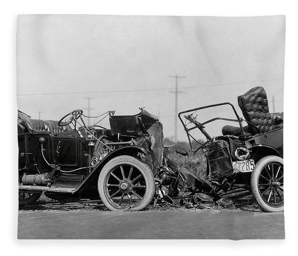 Vintage Car Crash 1914 Fleece Blanket for Sale by Daniel Hagerman