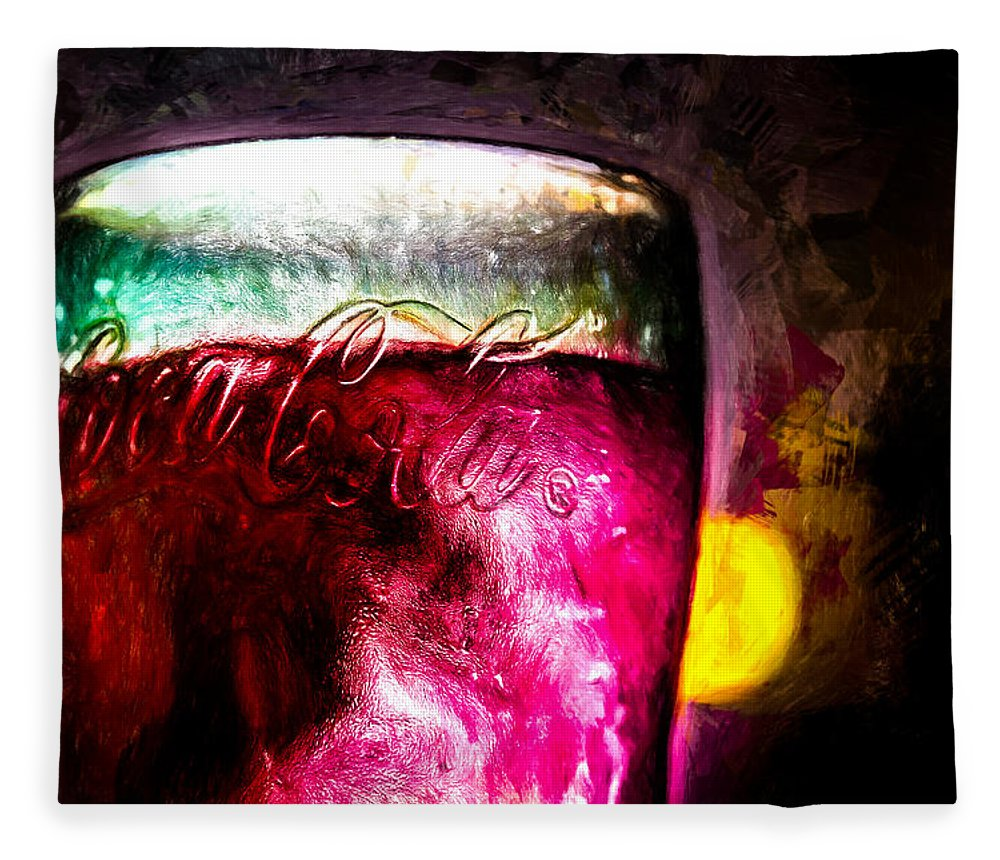 Coke Fleece Blanket featuring the painting Vintage Coca Cola Glass With Ice by Bob Orsillo