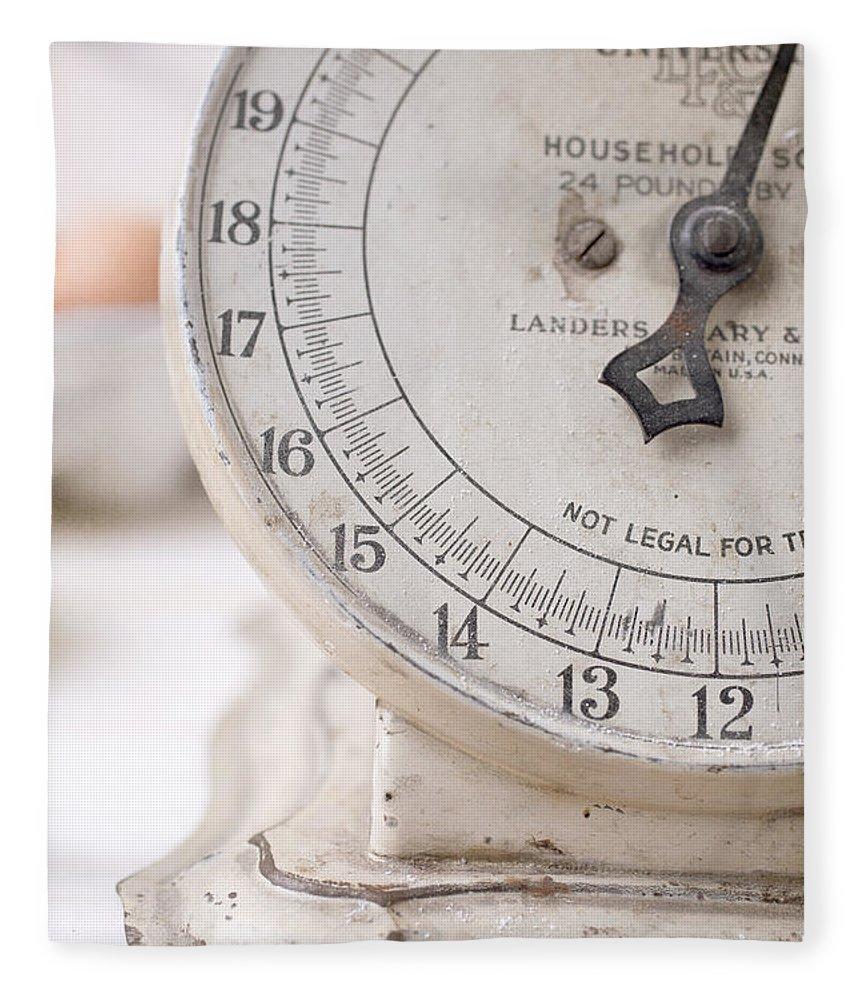 Kitchen Fleece Blanket featuring the photograph Vintage Kitchen Scale by Edward Fielding