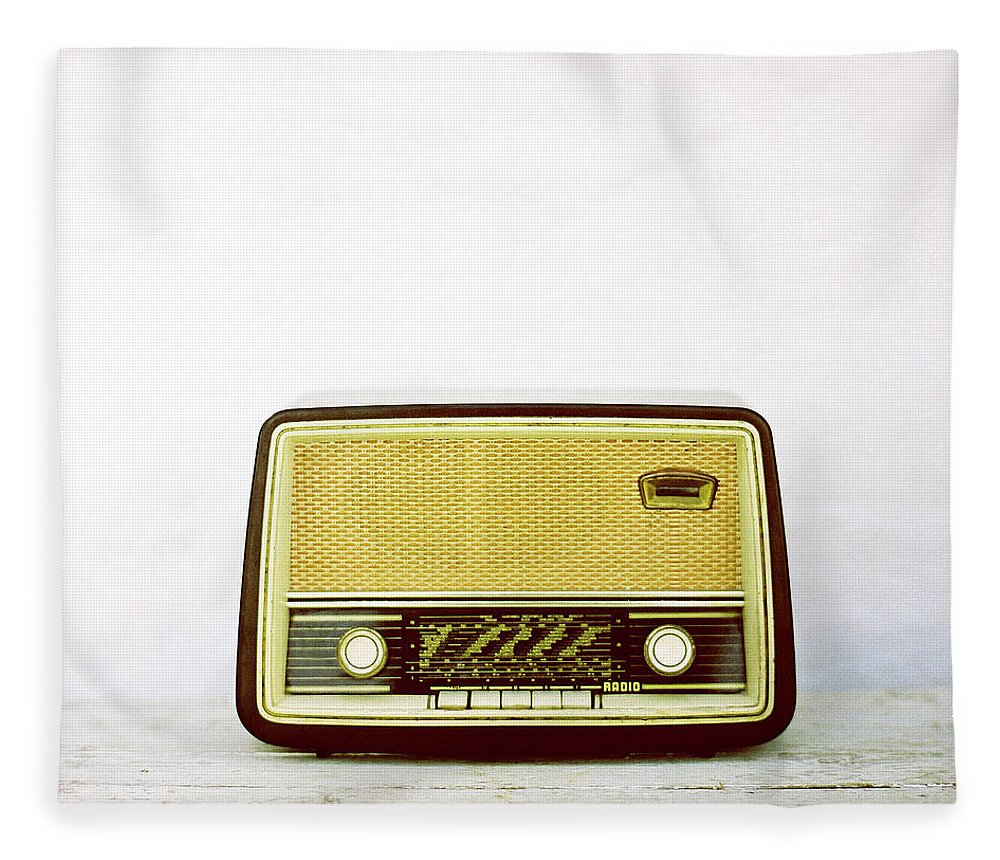 White Background Fleece Blanket featuring the photograph Vintage Radio by Thanasis Zovoilis