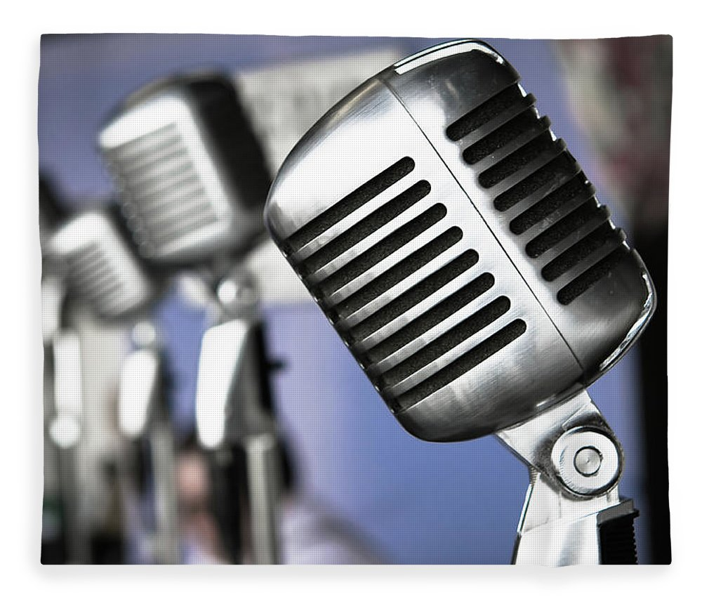 Music Fleece Blanket featuring the photograph Vintage Standing Radio Microphones by Photo By Brian T. Evans