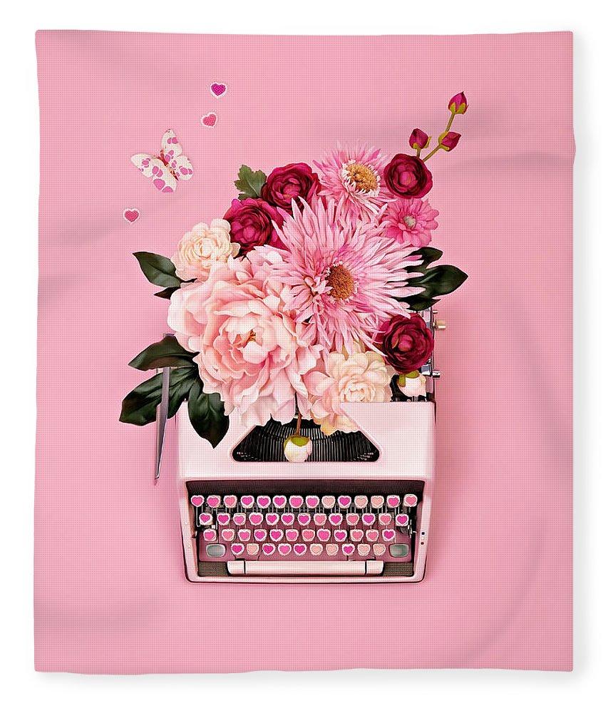 Typewriter Fleece Blanket featuring the photograph Vintage Typewriter With Flowers by Juj Winn