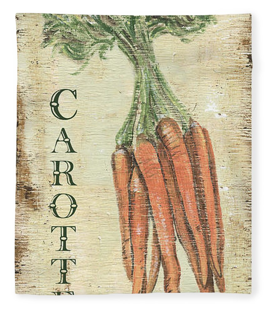 Kitchen Fleece Blanket featuring the painting Vintage Vegetables 4 by Debbie DeWitt