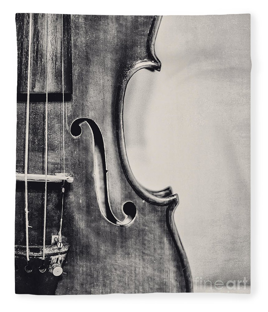 Violin Fleece Blanket featuring the photograph Vintage Violin Portrait In Black And White by Emily Kay