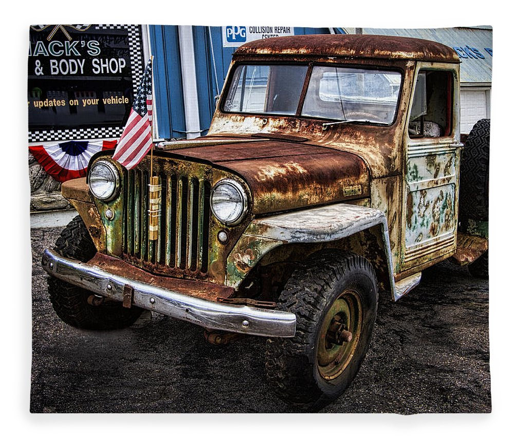 Vintage Willys Jeep Pickup Truck Fleece Blanket For Sale By Kathy Clark 1950 Featuring The Photograph