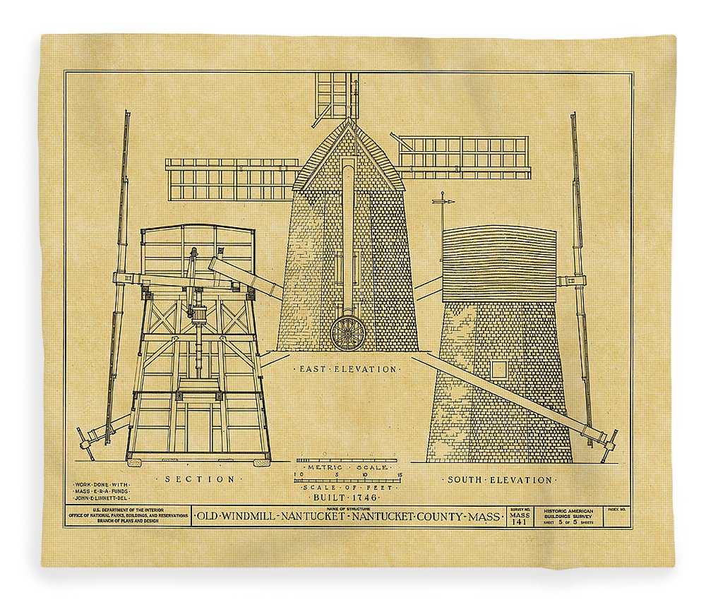 Vintage windmill blueprint fleece blanket for sale by andrew fare windmill fleece blanket featuring the photograph vintage windmill blueprint by andrew fare malvernweather