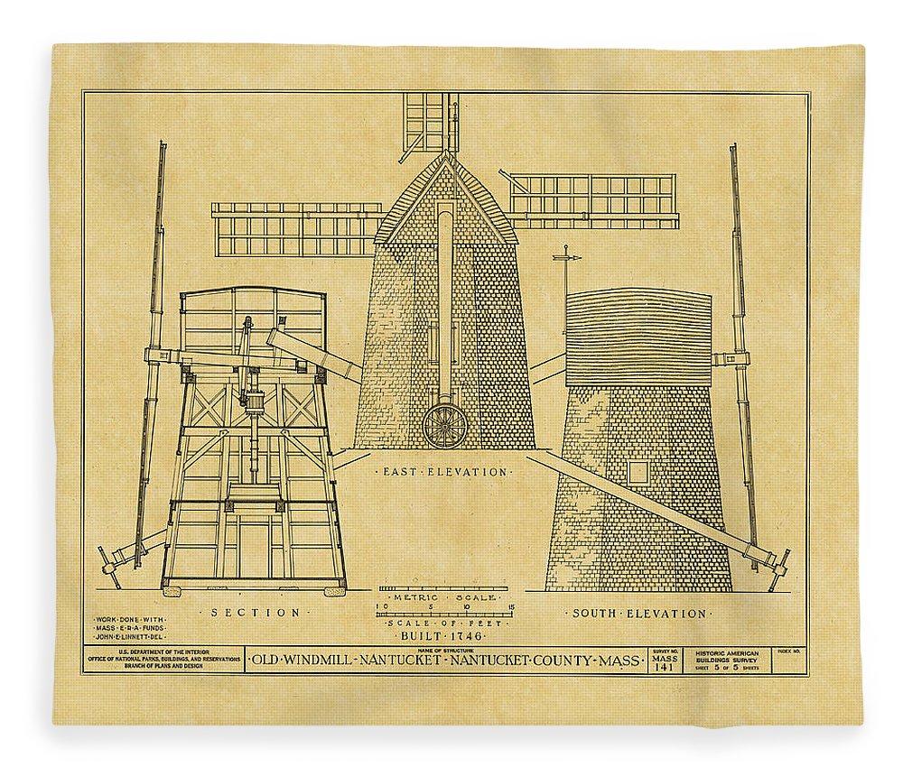 Vintage windmill blueprint fleece blanket for sale by andrew fare windmill fleece blanket featuring the photograph vintage windmill blueprint by andrew fare malvernweather Choice Image