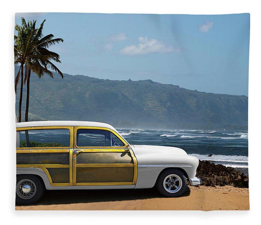 Haleiwa Fleece Blanket featuring the photograph Vintage Woody On Hawaiian Beach by Ed Freeman