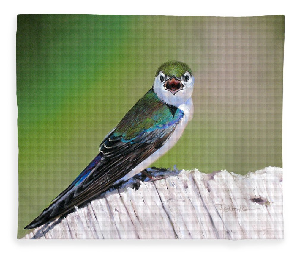 Birds Fleece Blanket featuring the painting Violet Green Swallow by Dianna Ponting