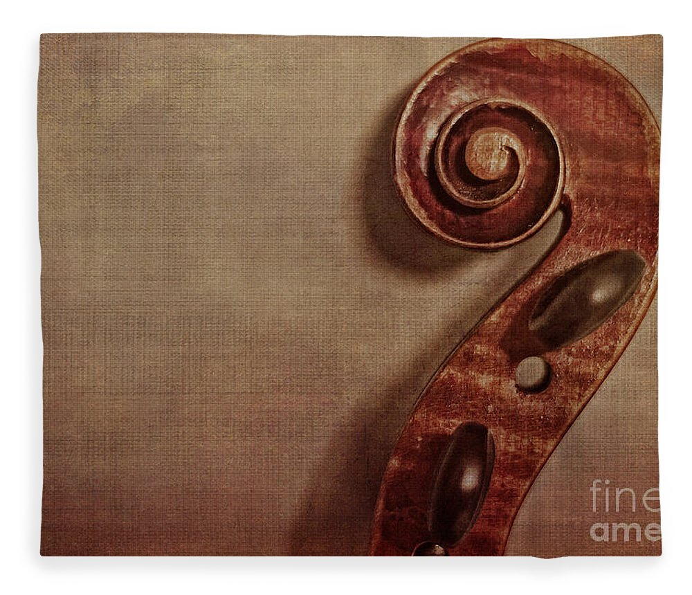Violin Fleece Blanket featuring the photograph Violin Scroll by Emily Kay