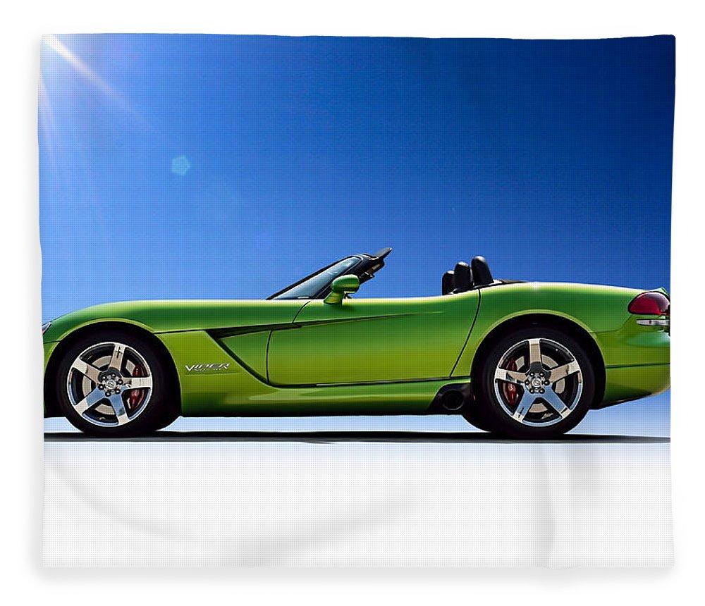 Green Fleece Blanket featuring the digital art Viper Roadster by Douglas Pittman