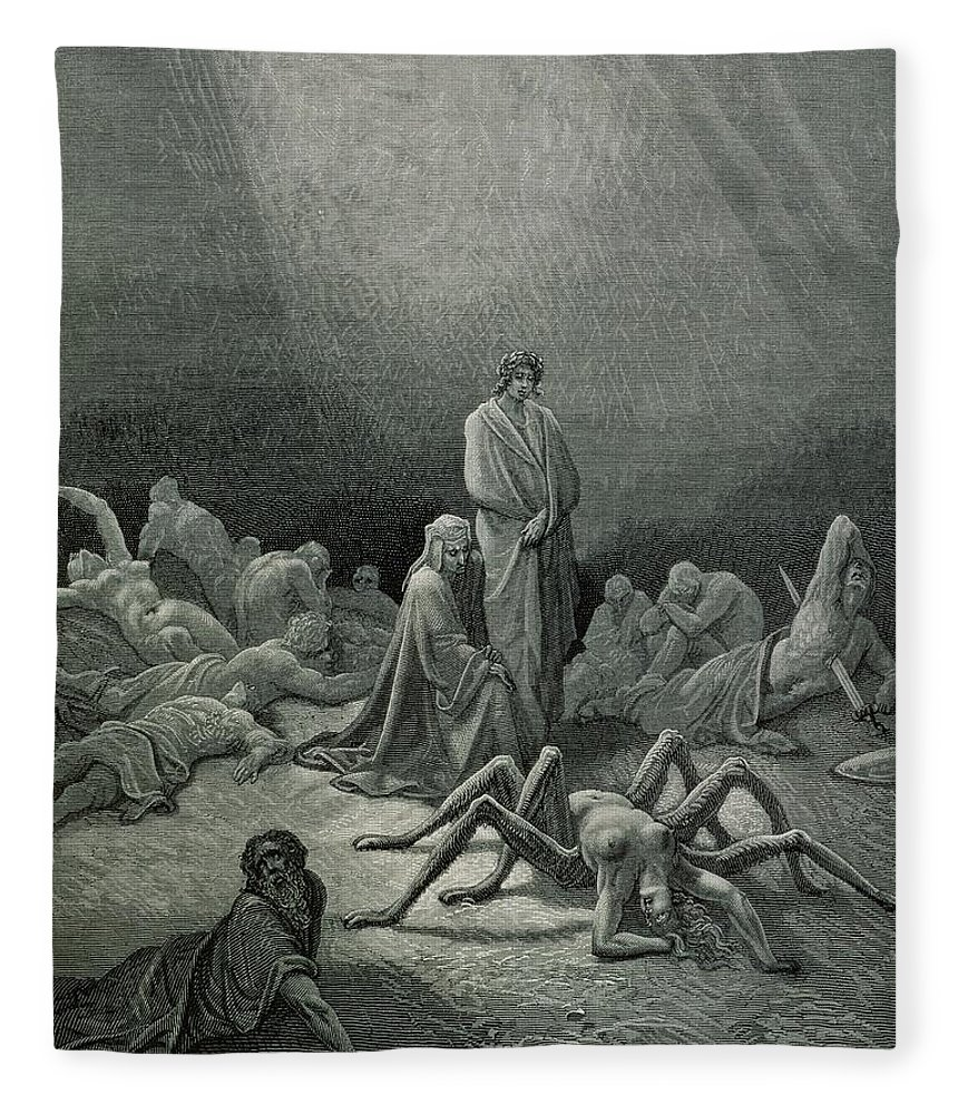 Dore Fleece Blanket featuring the drawing Virgil And Dante Looking At The Spider Woman, Illustration From The Divine Comedy by Gustave Dore