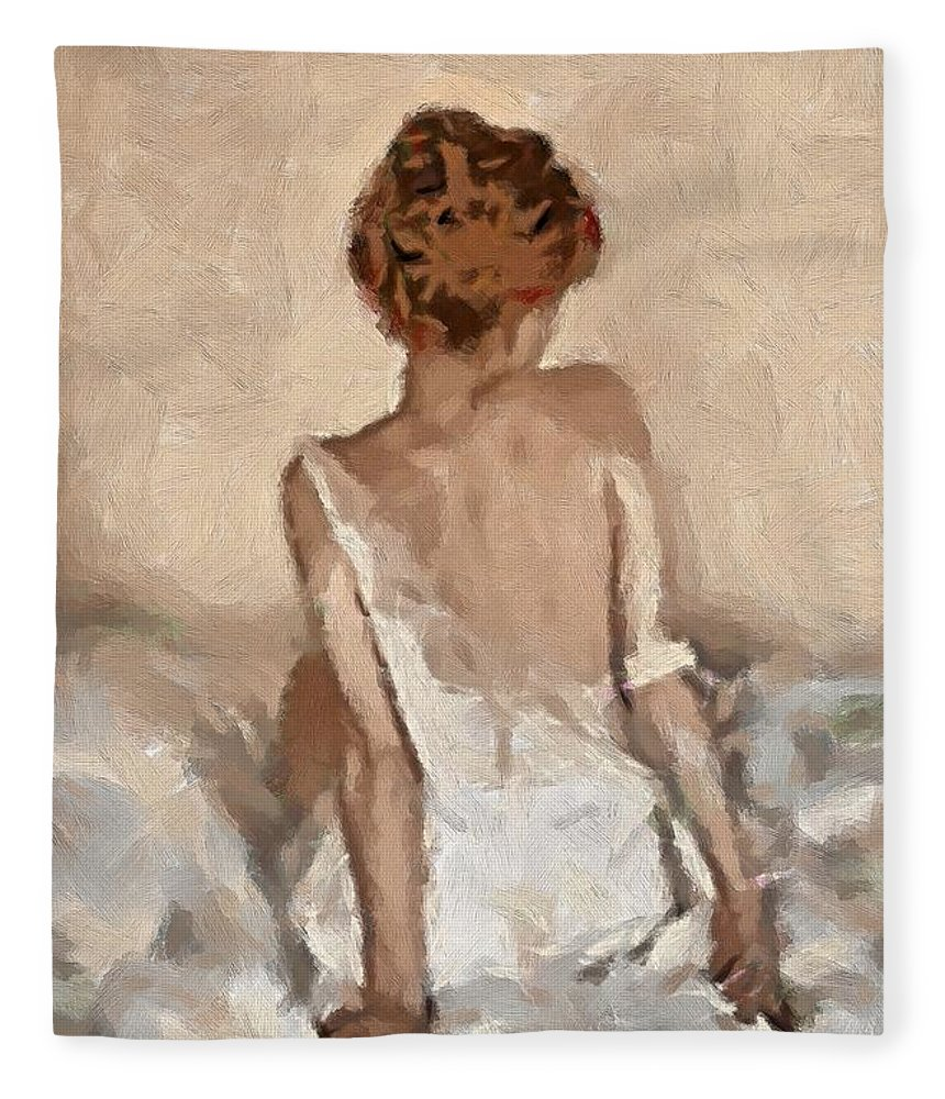 Figurative Fleece Blanket featuring the painting Virginity by Dragica Micki Fortuna