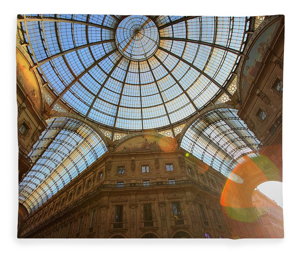 Ceiling Fleece Blanket featuring the photograph Vittorio Emanuele II Gallery In Milan by Massimo Pizzotti