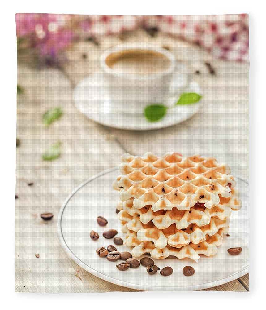 Breakfast Fleece Blanket featuring the photograph Waffles With Coffee by Da-kuk