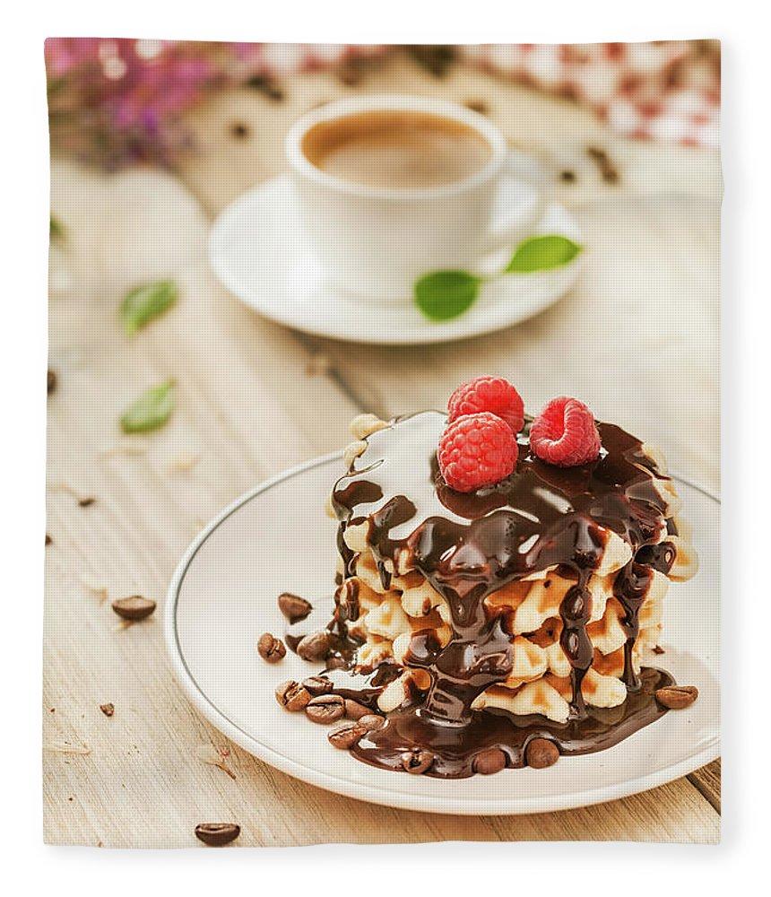 Breakfast Fleece Blanket featuring the photograph Waffles With Raspberry, Chocolate Sauce by Da-kuk
