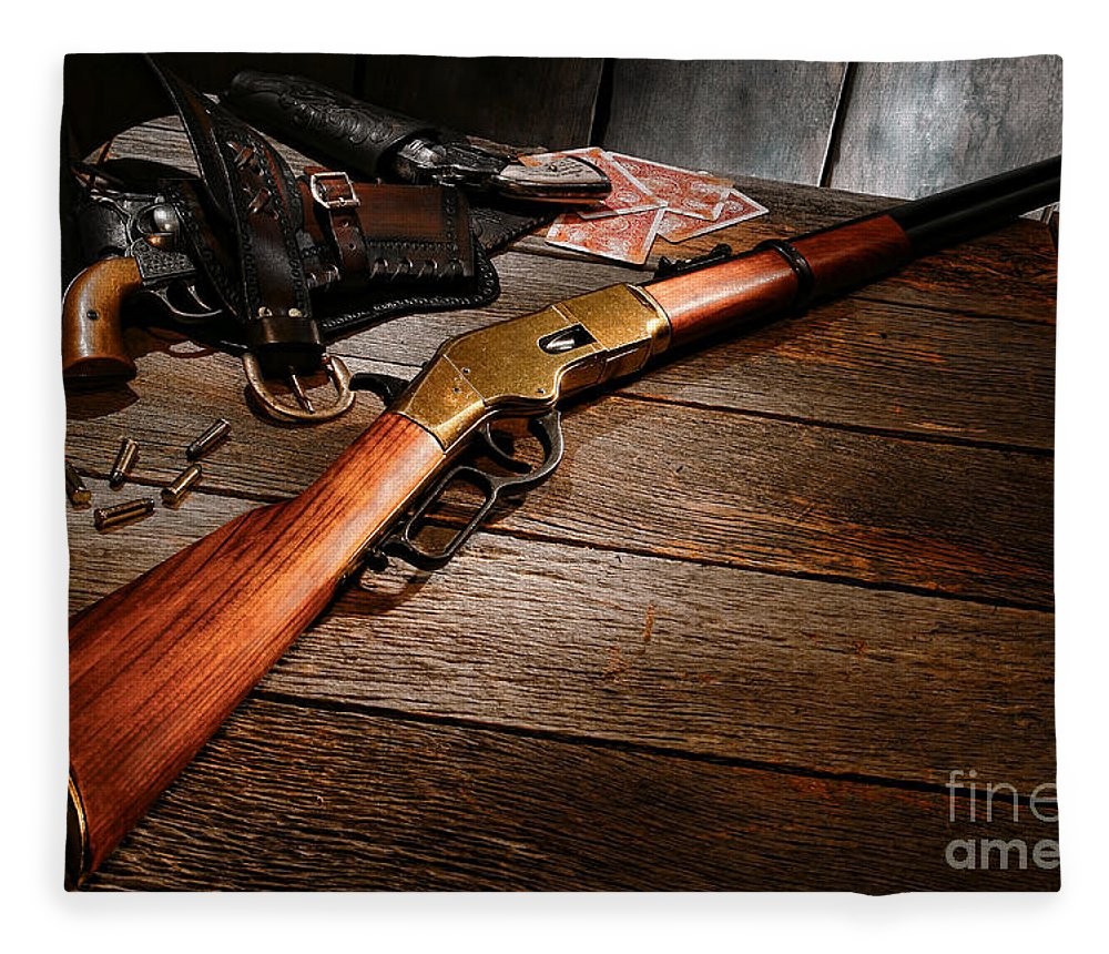 Western Fleece Blanket featuring the photograph Waiting For The Gunfight by Olivier Le Queinec