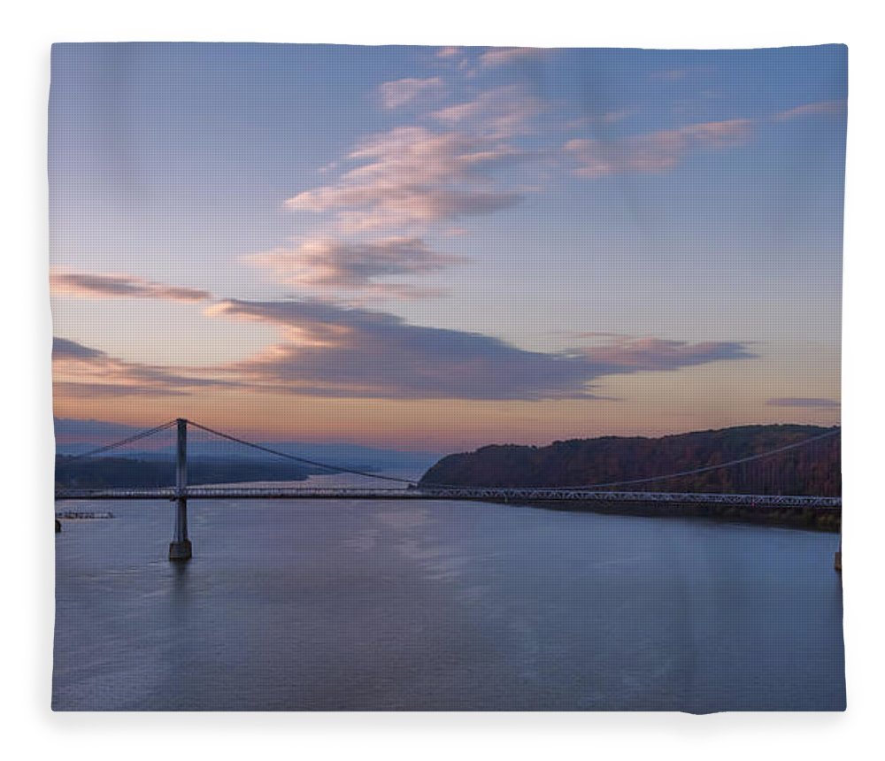 Joan Carroll Fleece Blanket featuring the photograph Walkway Over The Hudson Dawn by Joan Carroll