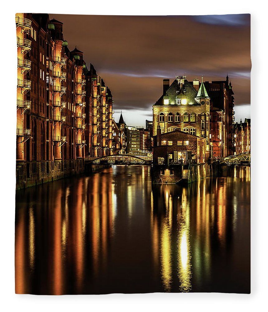 Trading Fleece Blanket featuring the photograph Warehouse District by Achim Thomae