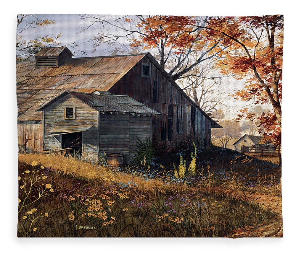 Landscape Fleece Blanket featuring the painting Warm Memories by Michael Humphries