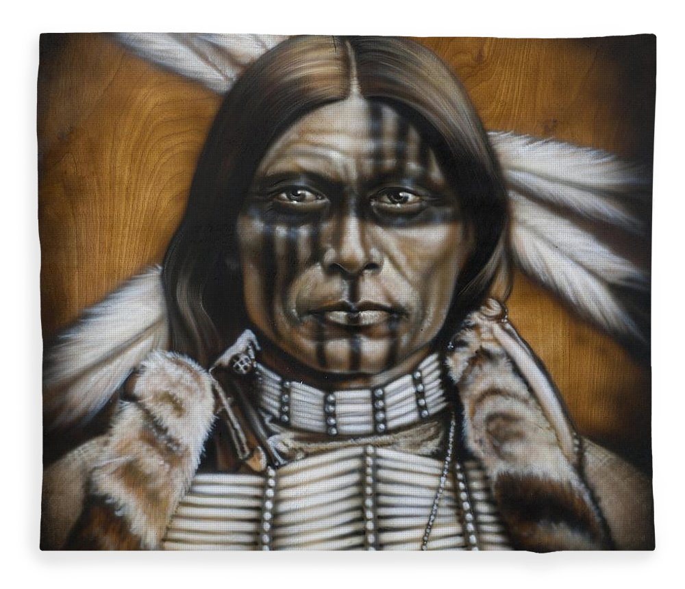Native American Fleece Blanket featuring the painting Warpaint by Timothy Scoggins