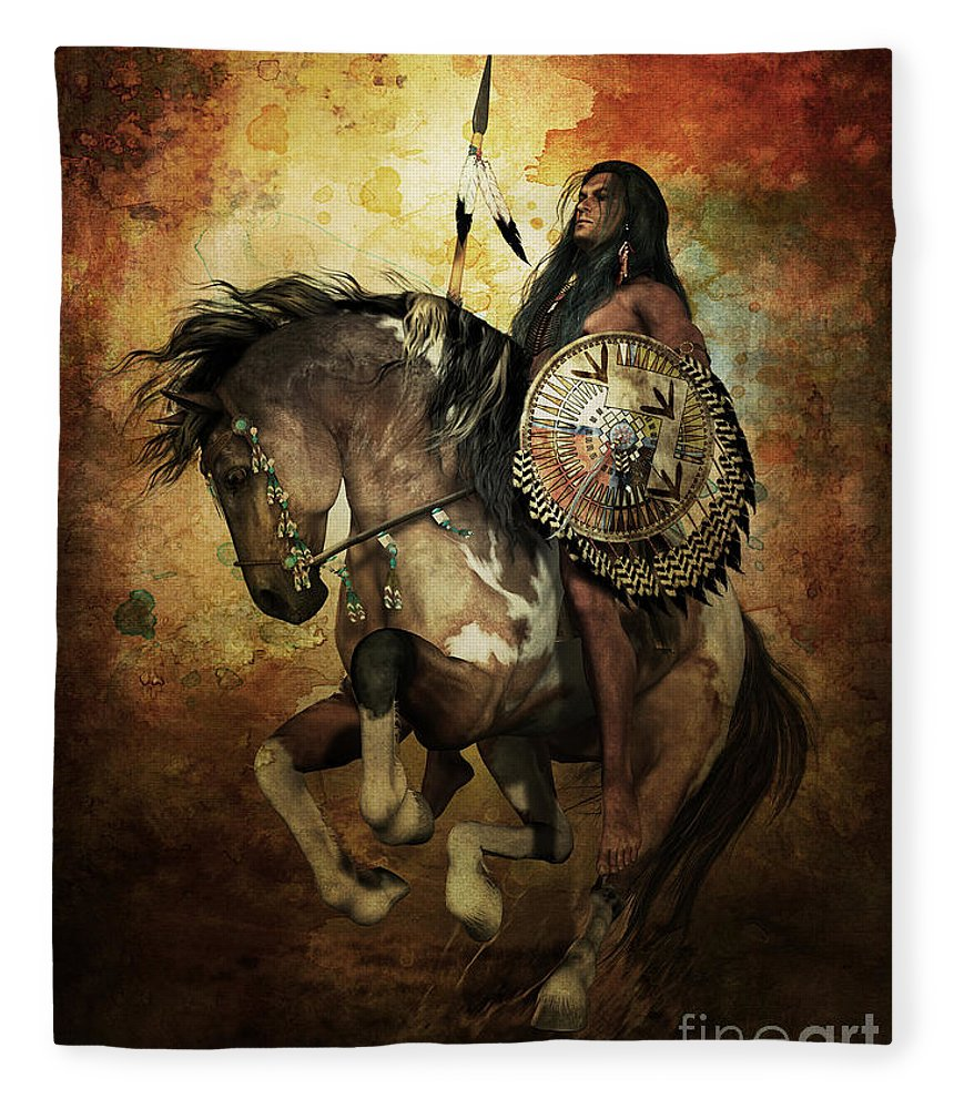Courage Fleece Blanket featuring the digital art Warrior by Shanina Conway