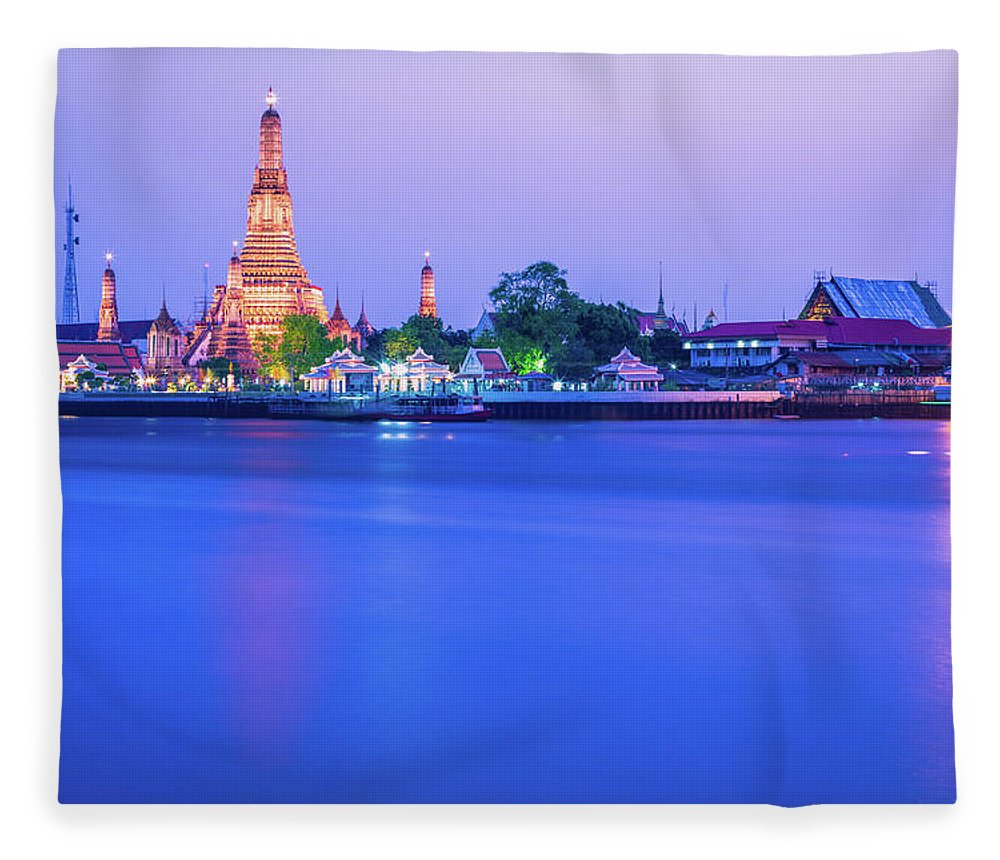 Scenics Fleece Blanket featuring the photograph Wat Arun Temple Bangkok Thailand by Deimagine
