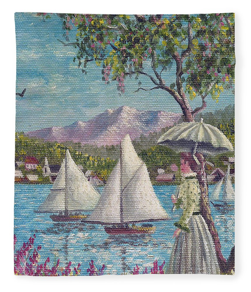 Sails Fleece Blanket featuring the painting Watching The Sails by David G Paul