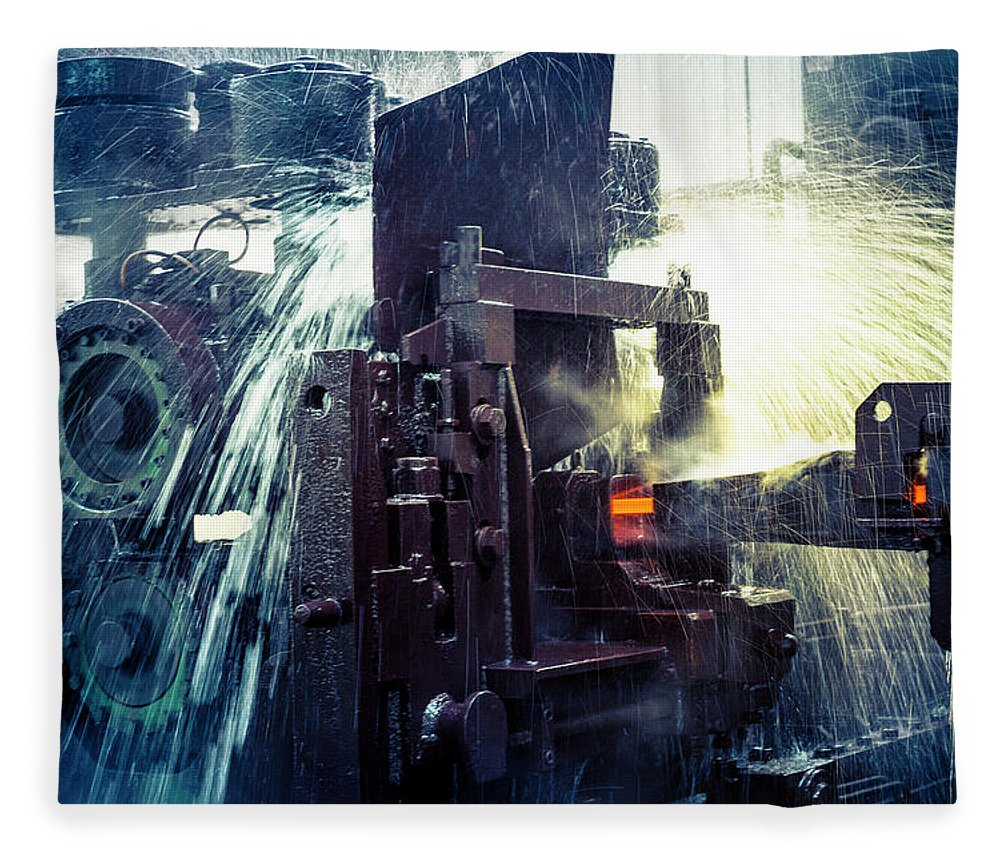Metalwork Fleece Blanket featuring the photograph Water Cooling Of Roling Mill Line by Chinaface