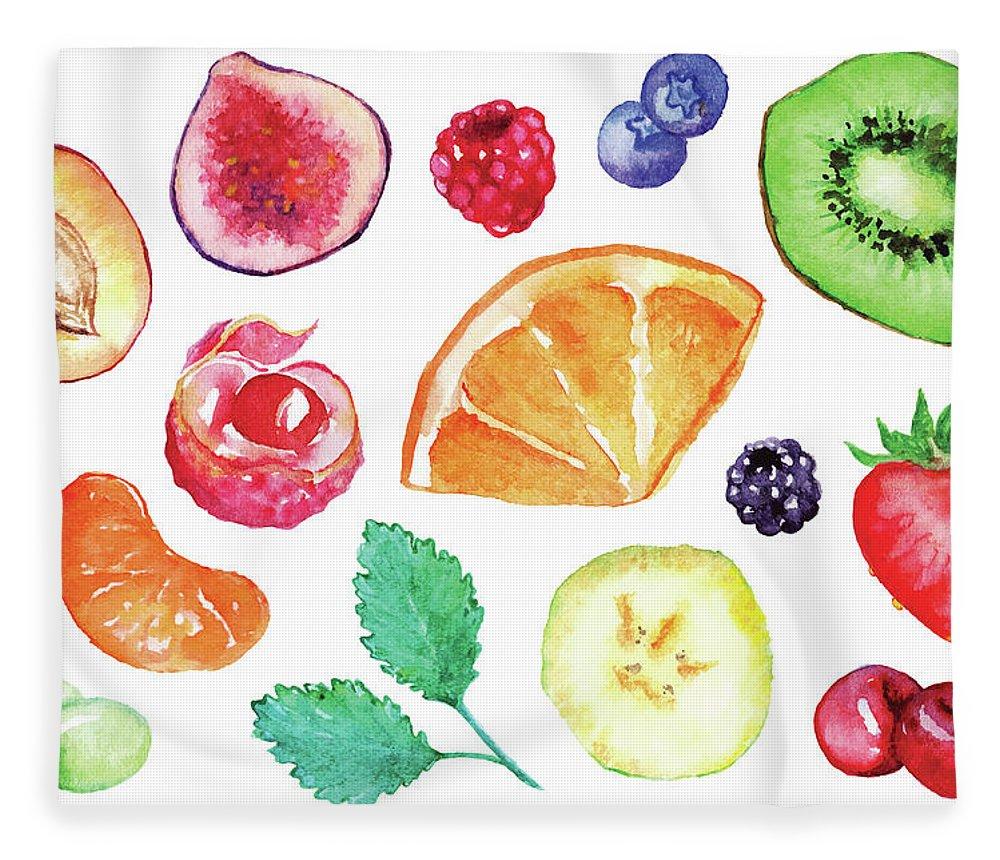 Cherry Fleece Blanket featuring the digital art Watercolor Exotic Fruit Berry Slice Set by Silmairel