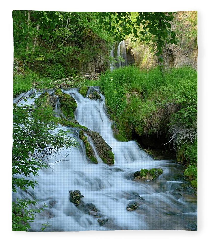 Scenics Fleece Blanket featuring the photograph Waterfall In Spearfish Cayon South by Groveb