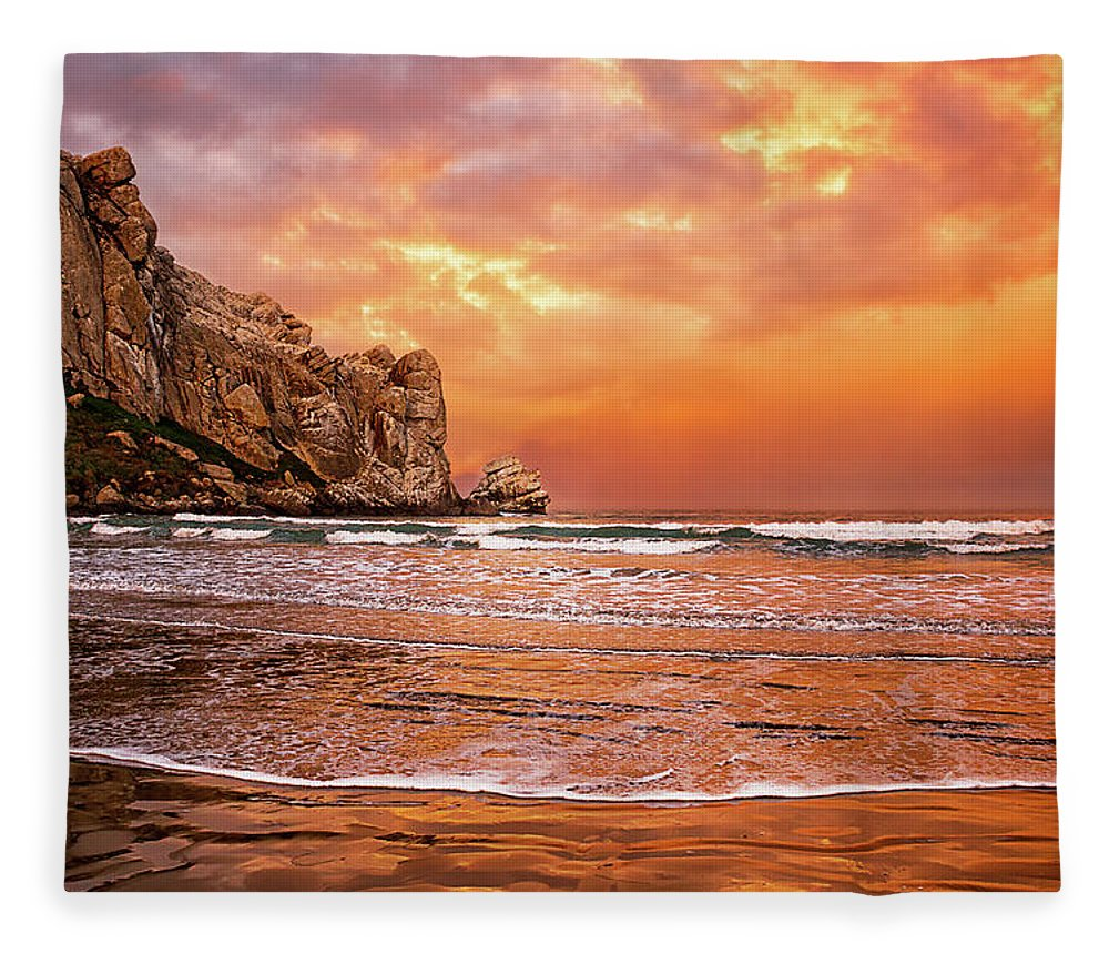 Water's Edge Fleece Blanket featuring the photograph Waves Breaking On Beach At Sunrise by Alice Cahill